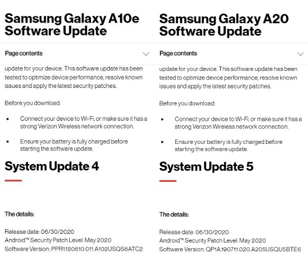 galaxy a10e a20 verizon android 10 update