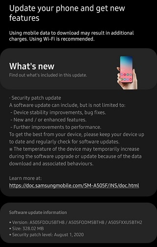 Galaxy A50 August Patch