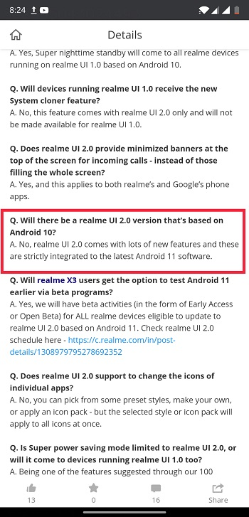 no realme 2 for android 10 devices