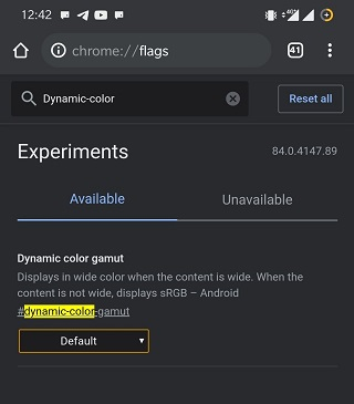 disable color gamut