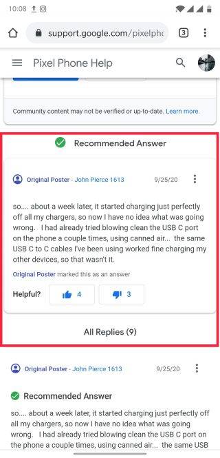 pixel 3a charging issue resolved after a few days