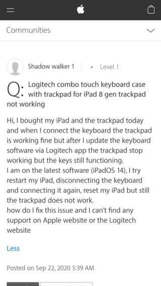 Logitech Combo Touch trackpad issue