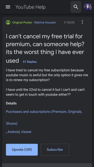 youtube premium cancel free trial