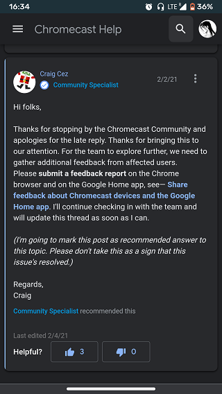 Chromecast-issue-Community-Specialist-logging-reports