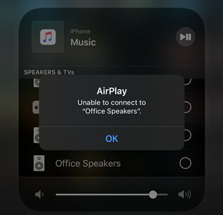 AirPlay unable to connect error message