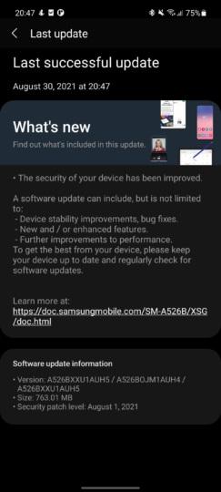 a52 5g One UI 3.1.1