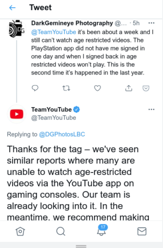 youtube console age restricted content issue