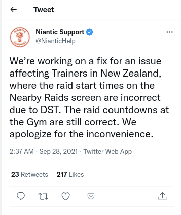 pokemon go new zealand issue trainers dst