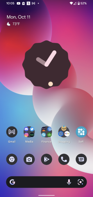 weather at a glance back android 12