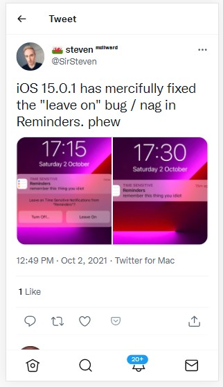 ios 15-0-1 fixes reminders issue